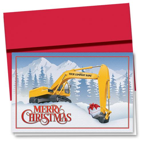 Construction Christmas Cards Christmas Excavator