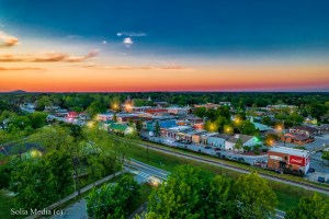 Olde Town Conyers Aerial Image by Solia Media - Evening Showing Stone Mountain