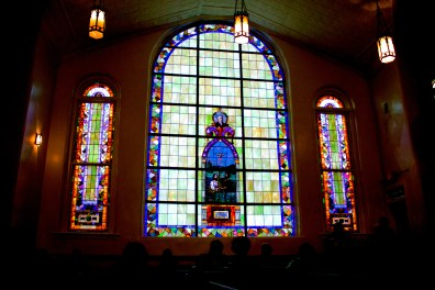 Beautiful stained glass located in 1st Street Baptist Church