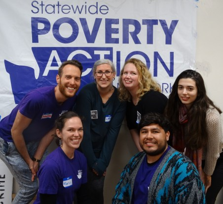 The Poverty Action team (l to r, back row): David, Emma, Rebecca, Adriana (front) Marcy & Omar