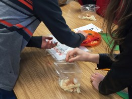 Students share bags of cut jicama to make takis together, using various spices.