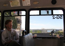 Driver Joe McCrea rides the Circulator (photo by Lara Breitkreutz)