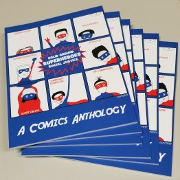 A fanned-out stack of A Comic Anthology, superhero comics created by Sand Point Housing youth artists