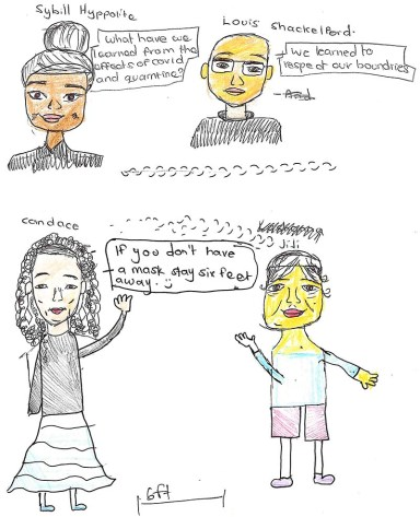 Youth drawing of four people talking about how to stay safe during the pandemic.