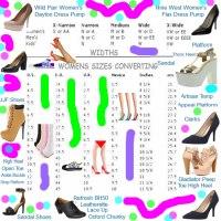 Women's Shoes Converting Charts | Kids & Men's Footwear