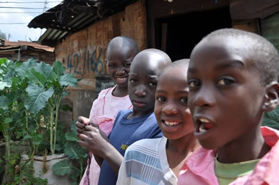Potagers urbains, bidonville de Kibera, Nairobi, Kenya