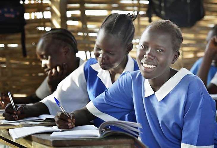 Girls in a classroom in Agok, South Sudan