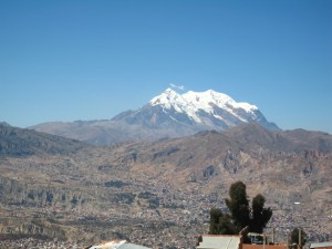 Photo with Mount Illimani in the background of La Paz