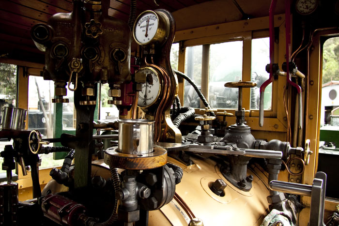 driver's compartment of a steam train