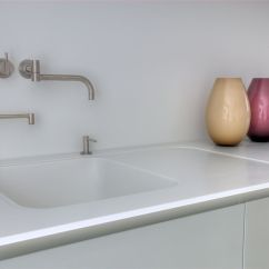 Corian Kitchen Sinks Personalized Towels Worktops Hi Macs Krion Installations Solidity Flat Recessed Drainer And Sink Home Kitchens