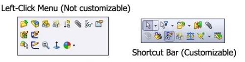solidworks shortcut bar left click menu settings