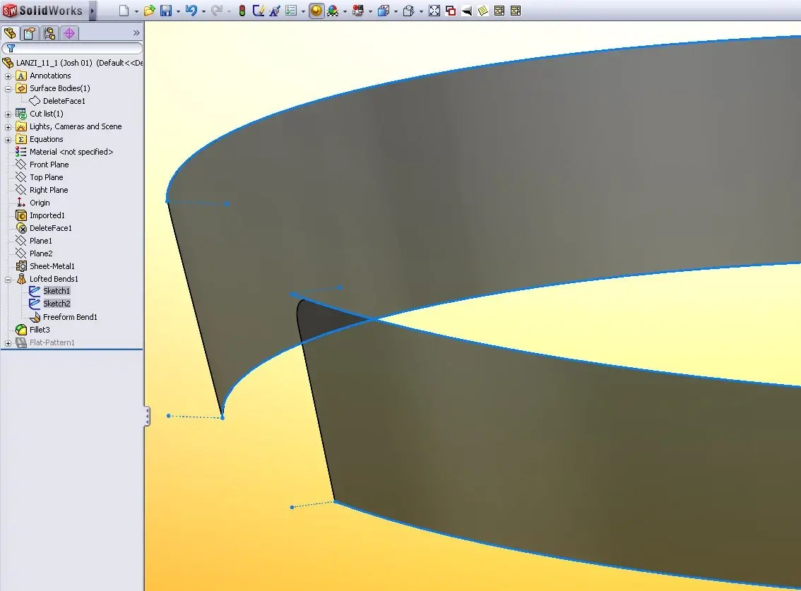 Flattening A Non Linear Conical Surface In Solidworks Is