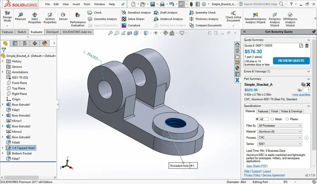 Xometry Instant Quote SOLIDWORKS Add-in