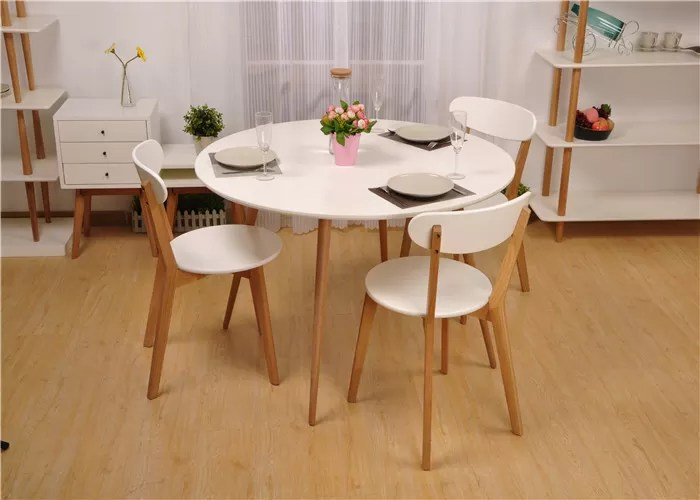 solid oak dining table and chairs portable folding chair for elderly white round wood sets wooden simple style
