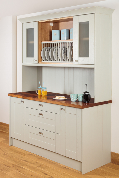 kitchen dresser espresso table how to create a using our solid oak cabinets made from painted in farrow ball s mizzle