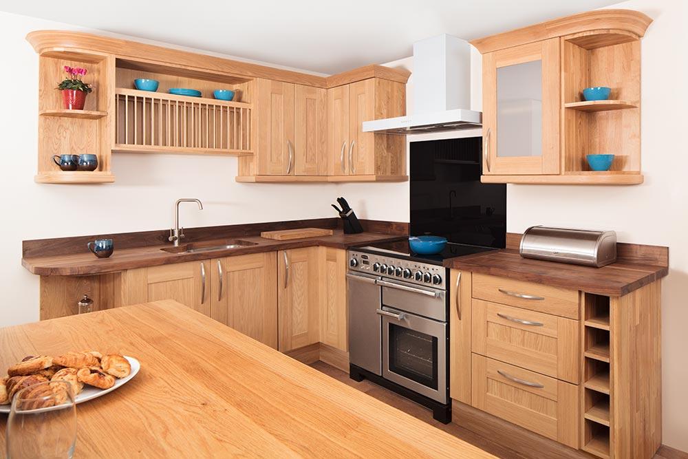 kitchen base cabinets unfinished white tile specialist solid oak in curved, belfast ...