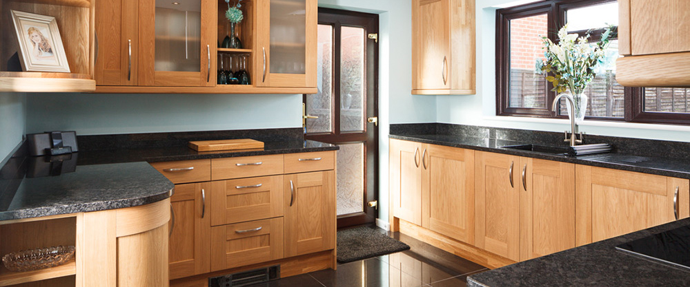 oak kitchen cabinet lowes hood real solid wood units cabinets