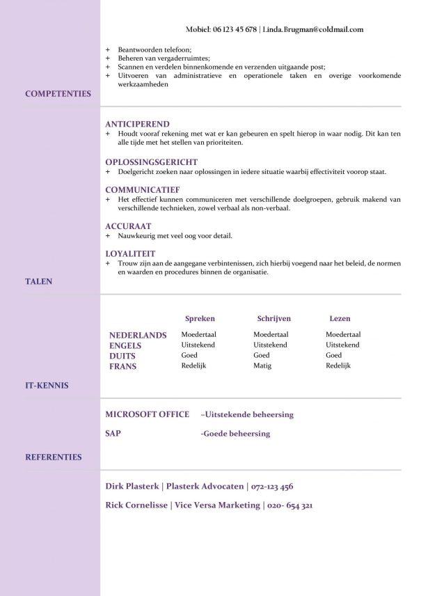 CV Voorbeeld Newport (Violet Blue) 1/2, gratis voorbeeld curriculum vitae, cv voor verkoopster, administratief personeel, secretaresse en meer, elegante cv