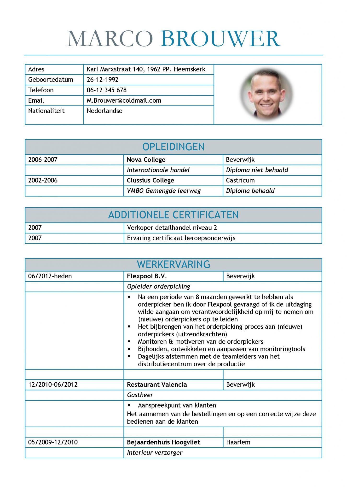 CV Voorbeeld Leicester (Blue Dolphin) 1/2   Sollicitatiebijbel.nl