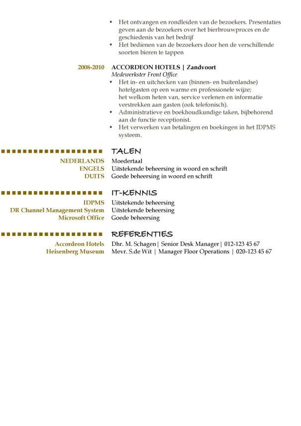hoe maak je een cv? CV Voorbeeld Oxford (Gold Version) 2/2, top curriculum vitae, pagina 2