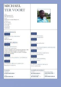 CV Voorbeeld Kingston (Deep Blue), cv productie medewerker, cv schoonmaker, cv donker blauw