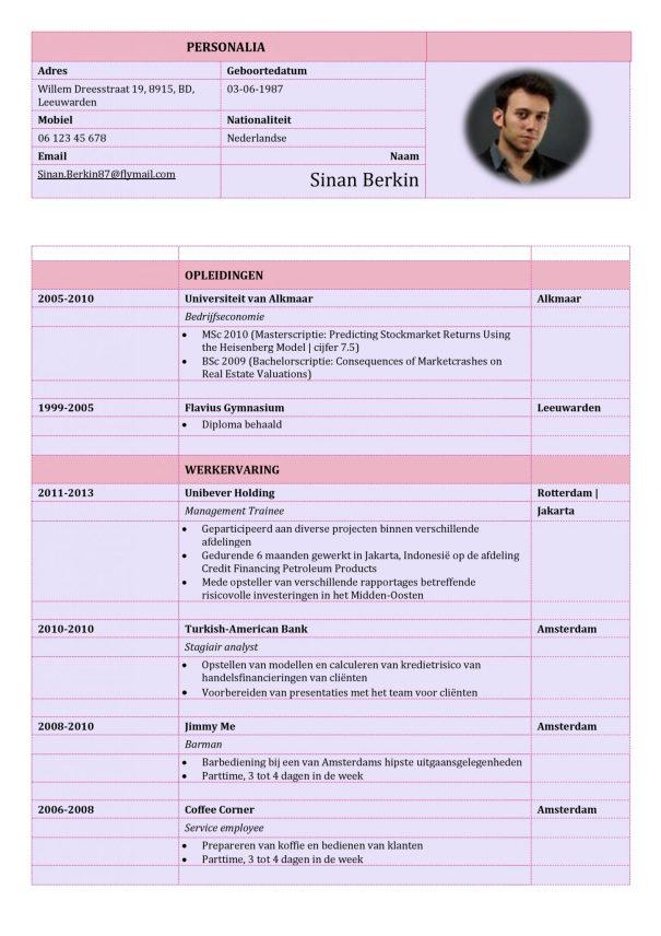 CV Voorbeeld Carlyle (Purple Rain) 1/2, curriculum vitae
