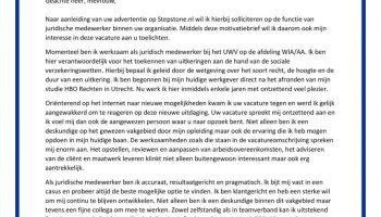 motivatiebrief juridisch medewerker Sollicitatiebrief Juridisch Medewerker   Sollicitatiebijbel.nl