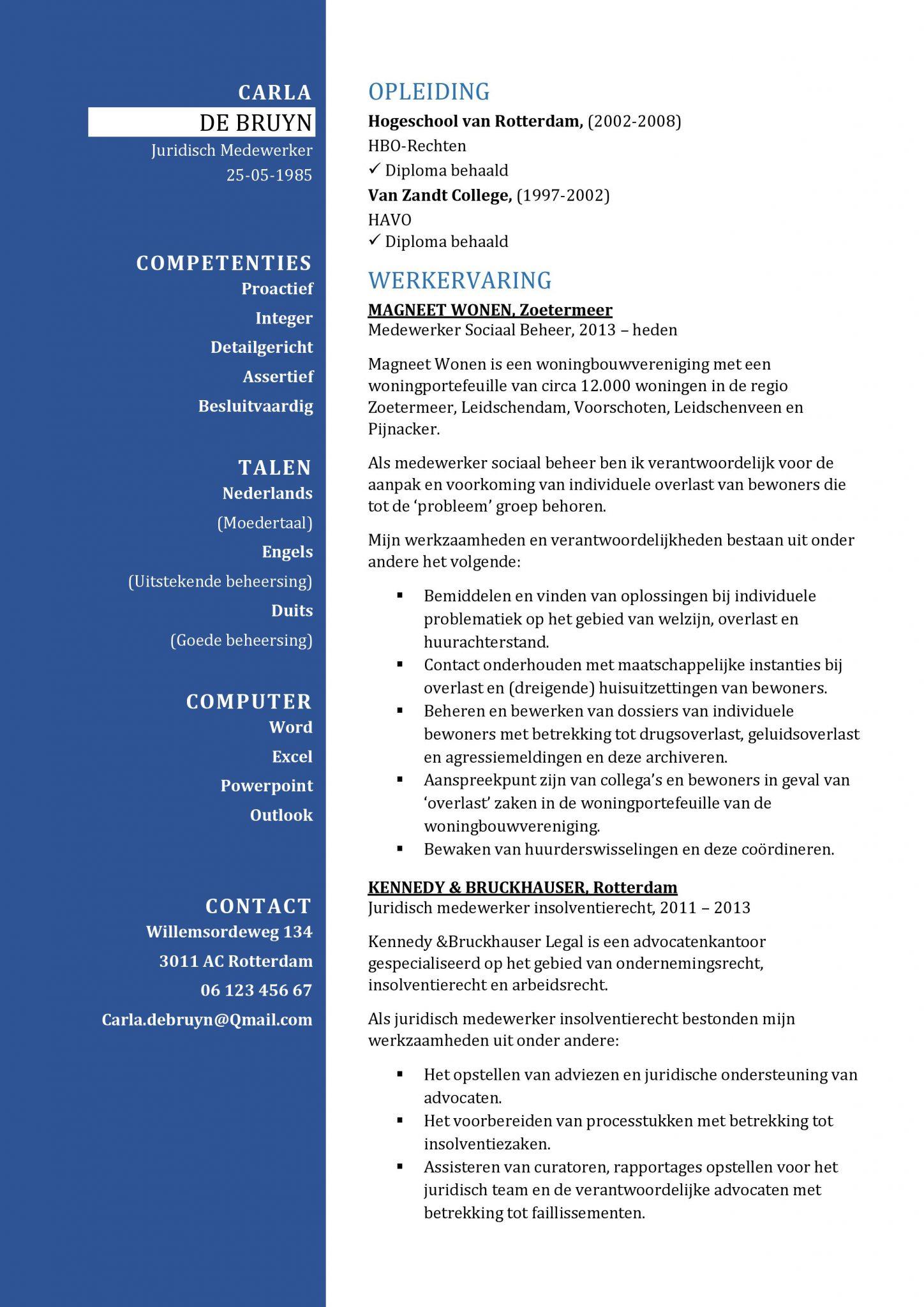 CV Sjabloon Bradford | Geweldige CV Template | Juridisch