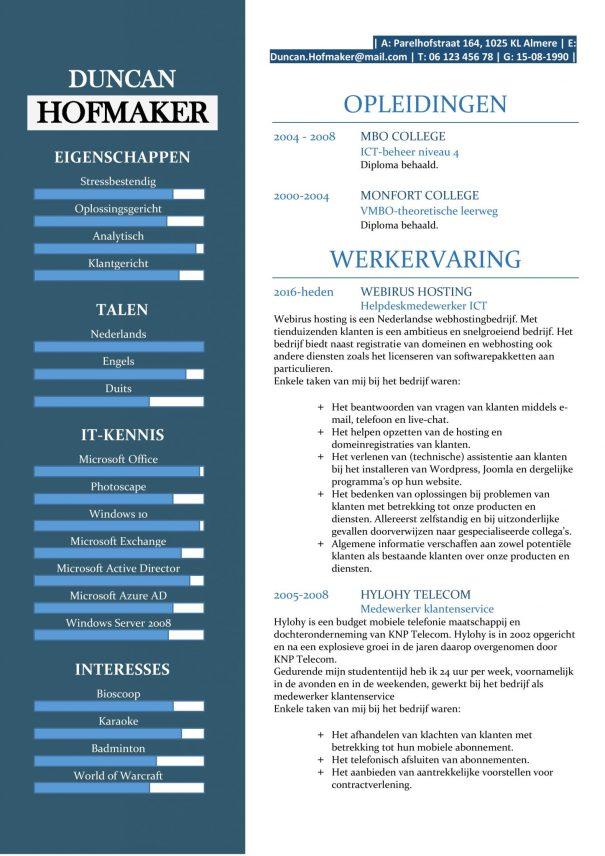 CV Sjabloon Cambridge 1-1, voorbeeld cv helpdeskmedewerker ICT