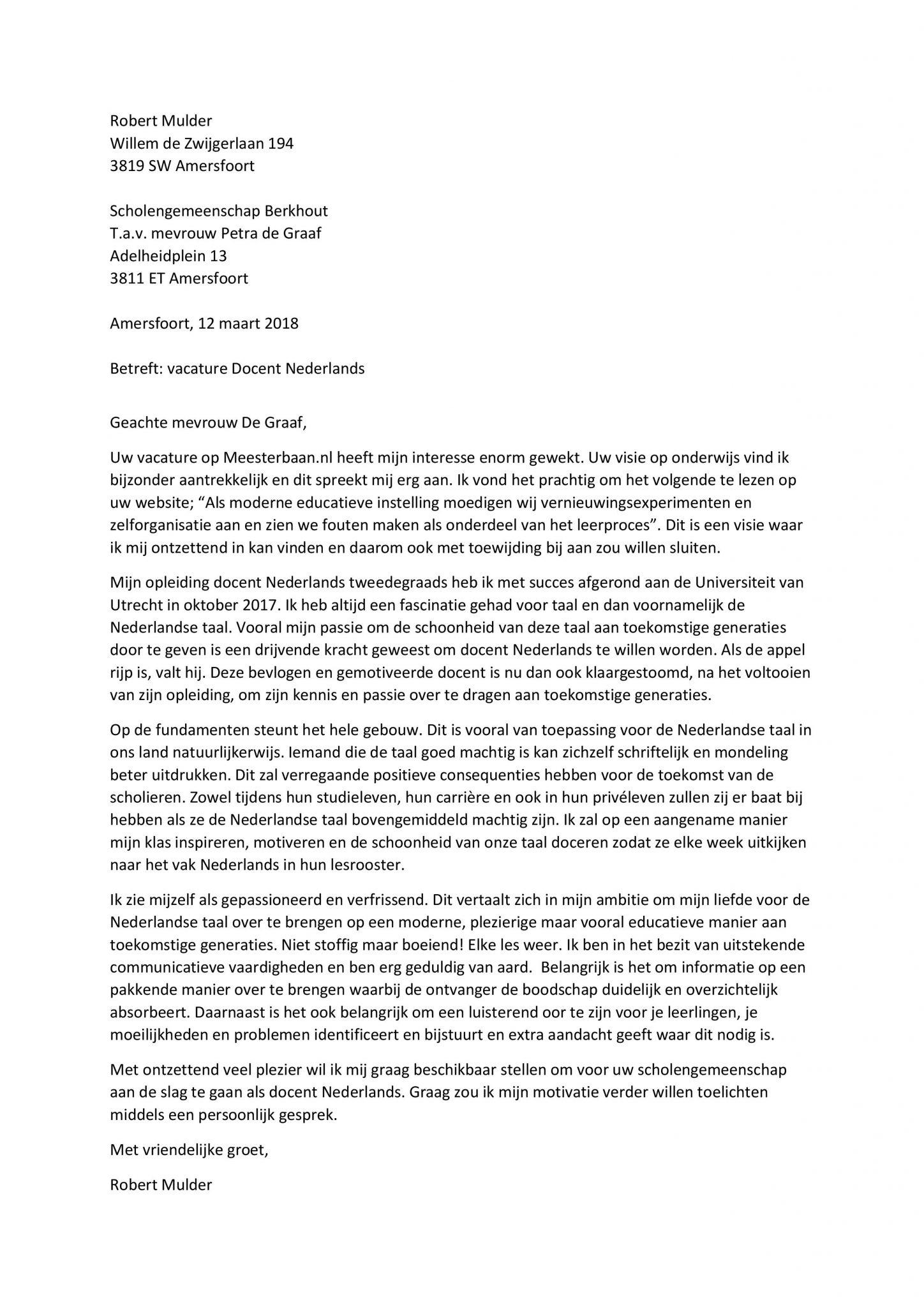 voorbeeld sollicitatiebrief docent Sollicitatiebrief Docent Nederlands   Sollicitatiebijbel.nl voorbeeld sollicitatiebrief docent