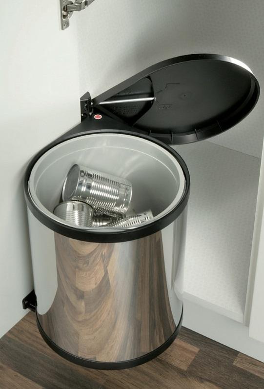 kitchen stainless steel trash can vent fan hailo under sink waste bin mono (15l)