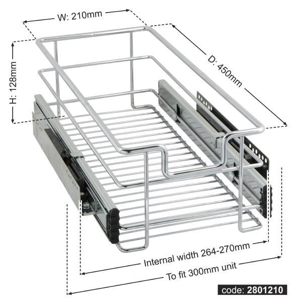 Kitchen Soft Close Pull-out Wire Basket for 300-1000mm unit