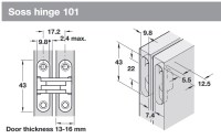 Soss hinge 101 for 13-16 mm door thickness