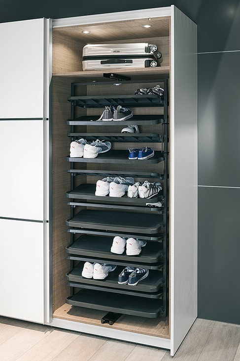 black kitchen cabinet handles tuscan design photos shoe rack extending & 180° rotating for tall cabinets