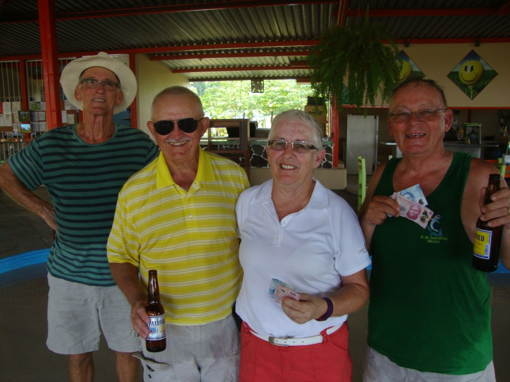 First place at five under was Roe, Bill, Harold, Dave