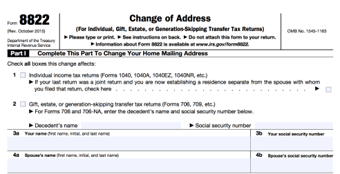 Form 8822 change of address for the IRS