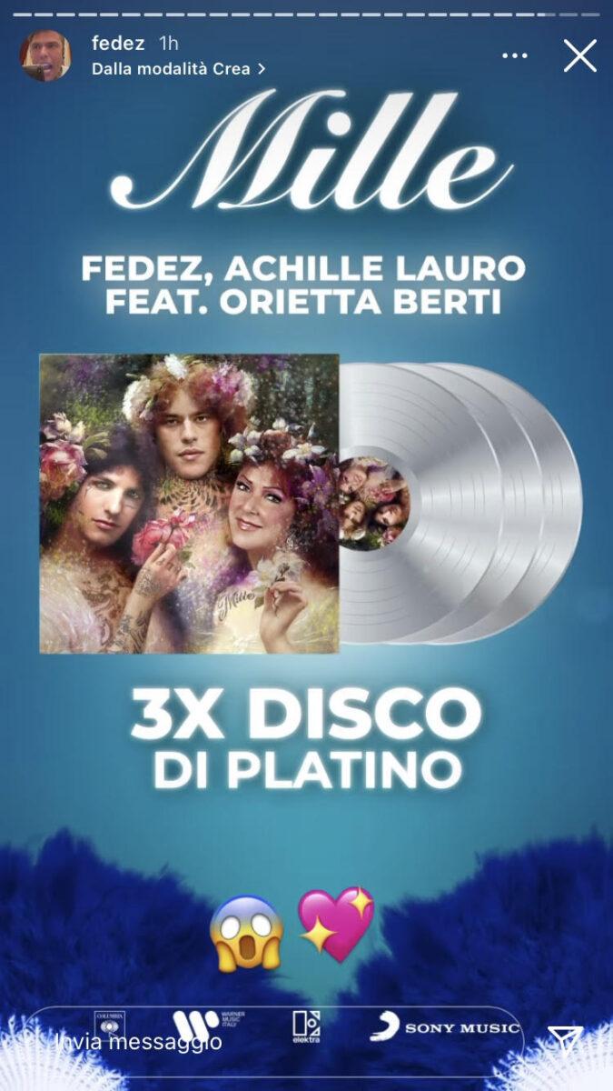 19:00 & # 8211;  Fedez: Mille is three times platinum
