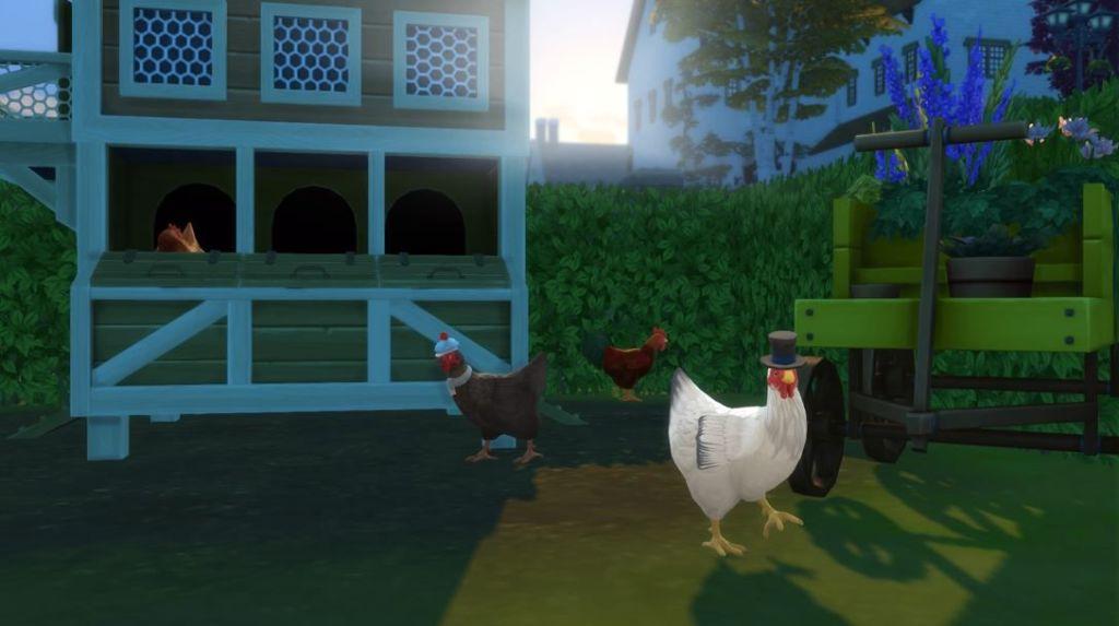 Los-Sims-4-Vida-en-el-pueblo-gallinas-con-sombrero-screenshots