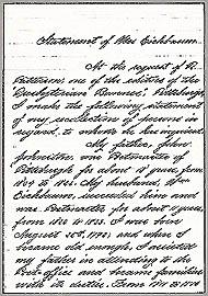Rebecca J. Eichbaum's 1879 statement & Isaac Craig's 1882