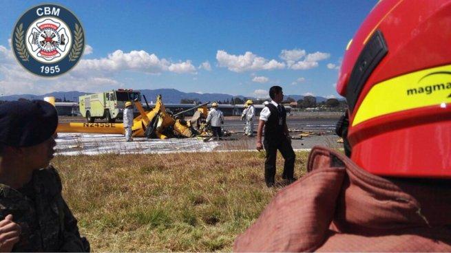 Cuatro muertos tras accidentarse un helicóptero en aeropuerto La Aurora