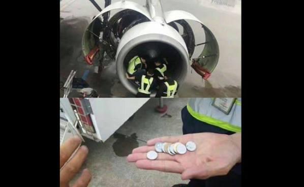 Anciana lanza monedas al motor de un avión para obtener suerte y retrasan su vuelo por 5 horas