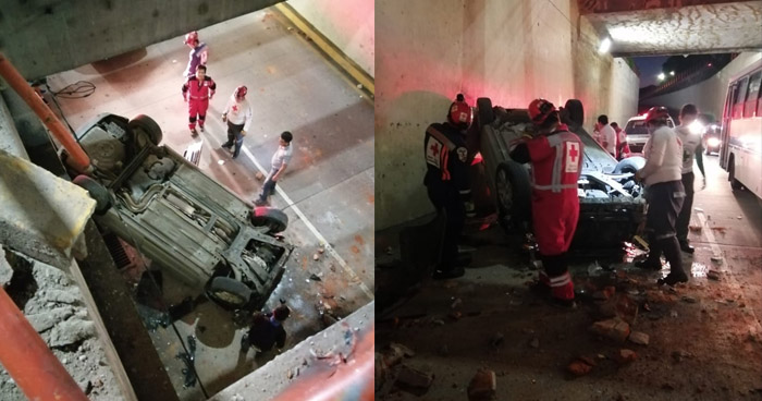 """Joven sobrevive de milagro tras caer junto a su vehículo de un paso desnivel """"Hermano Lejano"""""""