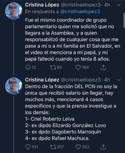 Exdiputada del PNC Cristina López revela corrupción en su partido