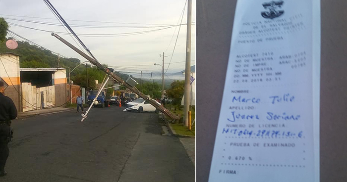 Conductor ebrio provoca el cierre de la calle a Mariona tras derribar poste del tendido eléctrico