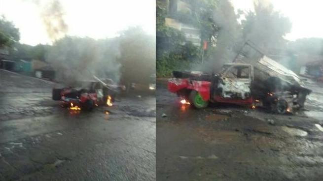 Conductor se salva de milagro luego de chocar con una rastra en Ahuachapán