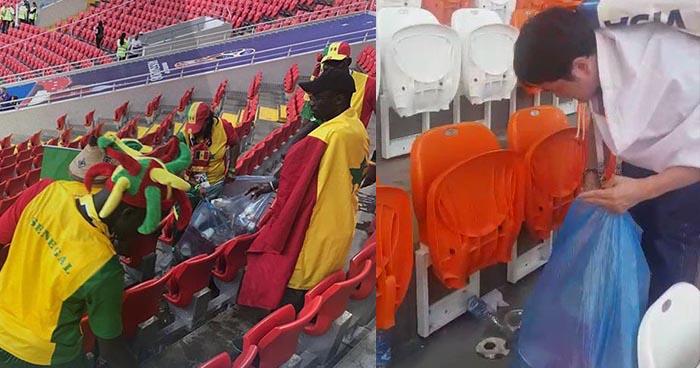 Aficionados de Japón y Senegal limpian los estadios tras disfrutar de los partidos del mundial