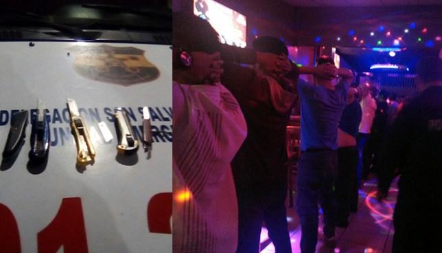 PNC incauta varias armas blancas durante registros a bares de San Salvador