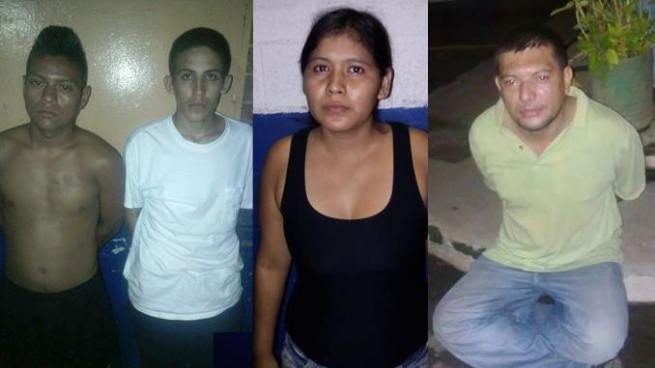 Capturan a 4 hombres y una mujer por diferentes delitos en Sonsonate