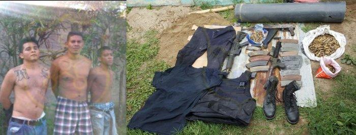 Capturan a tres pandilleros y les decomisan armas de Guerra en Ilopango