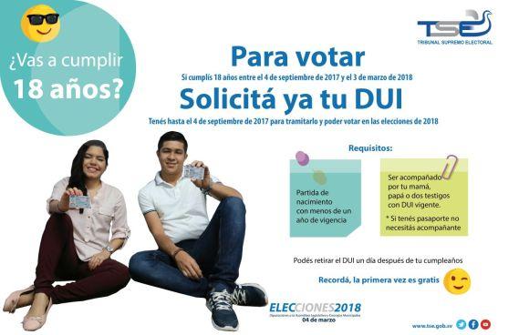Jovenes salvadoreños tienen hasta el 4 de septiembre para poder solicitar su Dui